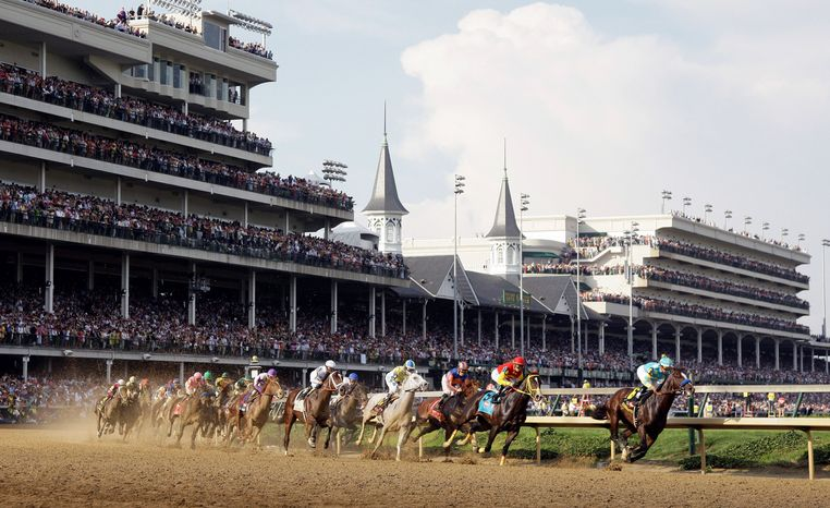 Bodemeister, under jockey Mike Smith, led the field around the first turn in the Kentucky Derby. The colt was overtaken in the final 100 yards by I'll Have Another. (Associated Press)