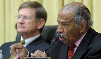 """Rep. John Conyers, Michigan Democrat, noted that about 300 organizations voiced opposition to the House domestic-violence bill before the vote. """"Who supports this bill? Who thinks this is a step in the right direction?"""" he asked. (Associated Press)"""