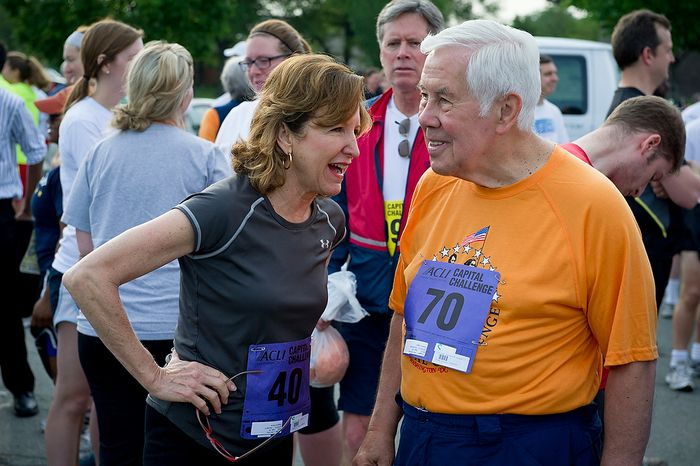 Senators Richard Lugar (R-Ind) and Kay Hagan (D-N.C.) chat prior to running in the ACLI Capital Challenge at Anacostia Park in Washington, D.C., Wednesday, May 16, 2012. This is the 31st running of the three-mile race where members of Congress, national media outlets and locals take part in this fundraising event in the early morning hours along the water of the Anacostia River.  (Rod Lamkey Jr/The Washington Times)