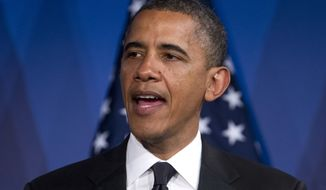 **FILE** President Obama speaks May 8, 2012, in Washington. (Associated Press)