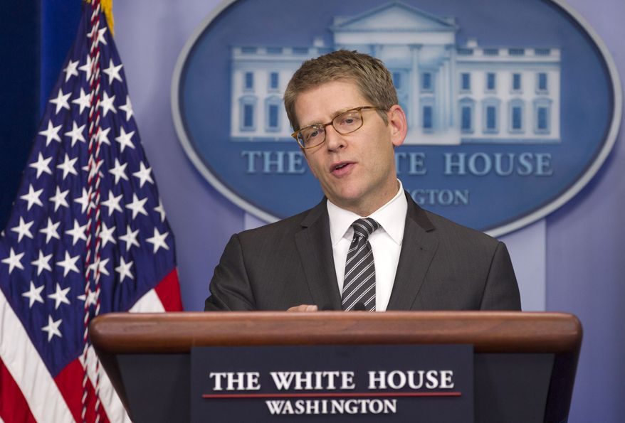 White House spokesman Jay Carney speaks May 16, 2012, during his daily news briefing at the White House. (Associated Press)