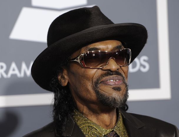 """**FILE** Chuck Brown arrives at the 53rd annual Grammy Awards in Los Angeles on Feb. 13, 2011. Brown, who styled a unique brand of funk music as a singer, guitarist and songwriter known as the """"godfather of go-go,"""" died May 16, 2012, after suffering from pneumonia. He was 75. (Associated Press)"""