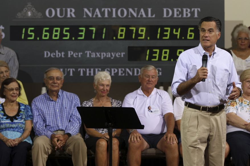 Republican presidential candidate and former Massachusetts Gov. Mitt Romney speaks May 16, 2012, at a campaign stop in St. Petersburg, Fla. (Associated Press)