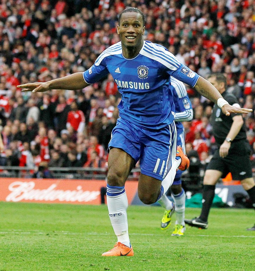 Chelsea's Didier Drogba celebrates after scoring during a 2-1 win over Liverpool in the English FA Cup Final on May 5. (Associated Press)