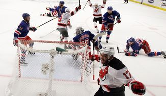 associated press Ilya Kovalchuk (17) celebrated after opening the scoring in New Jersey's 3-2 win over the New York Rangers in Game 2 on Wednesday night. It was a bounce-back for the Devils, who were shut out in Game 1.
