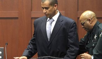 ** FILE ** George Zimmerman takes the witness stand on Friday, April 20, 2012, during a bond hearing in Sanford, Fla. Mr. Zimmerman is charged with second-degree murder in the shooting of Trayvon Martin. He claims self-defense. (AP Photo/Orlando Sentinel, Gary W. Green, Pool)