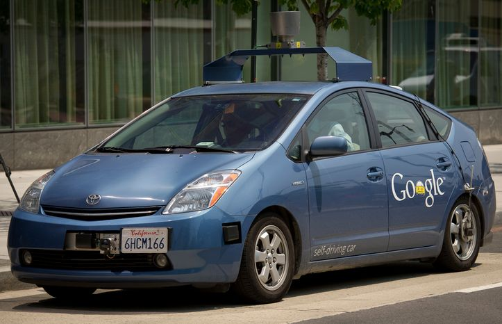 This is Google's new self-driving Toyota Prius, seen during a demonstration on New York Avenue NW in Washington, D.C., Thursday, May 17, 2012. (Rod Lamkey Jr./The Washington Times)