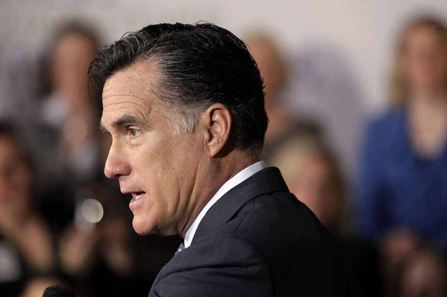 **FILE** Republican presidential candidate and former Massachusetts Gov. Mitt Romney speaks May 2, 2012, in Chantilly, Va. (Associated Press)