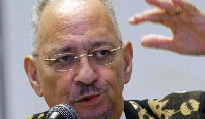 The Rev. Jeremiah Wright, pastor emeritus of the Trinity United Church of Christ in Chicago, speaks in Jackson, Miss., on Sunday, March 25, 2012. (AP Photo/Rogelio V. Solis)