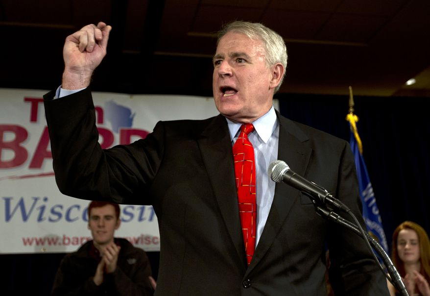 Milwaukee Mayor Tom Barrett speaks at his victory party in Milwaukee on Tuesday, May 8, 2012, after winning  the Wisconsin Democratic gubernatorial nomination. (AP Photo/Morry Gash)