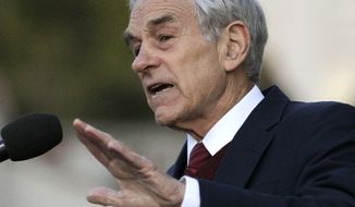 **FILE** Rep. Ron Paul, Texas Republican, speaks April 5, 2012, in Berkeley, Calif. (Associated Press)