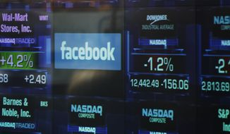 The Facebook logo appears on a display inside the Nasdaq Marketsite in Times Square on May 17, 2012, in New York. (Associated Press)