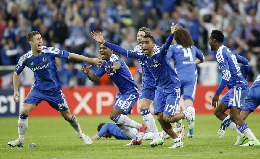 Didier Drogba scored the decisive penalty in the shootout as Chelsea beat Bayern Munich to win the Champions League final 2-1 on Saturday. (AP Photo/Matthias Schrader)