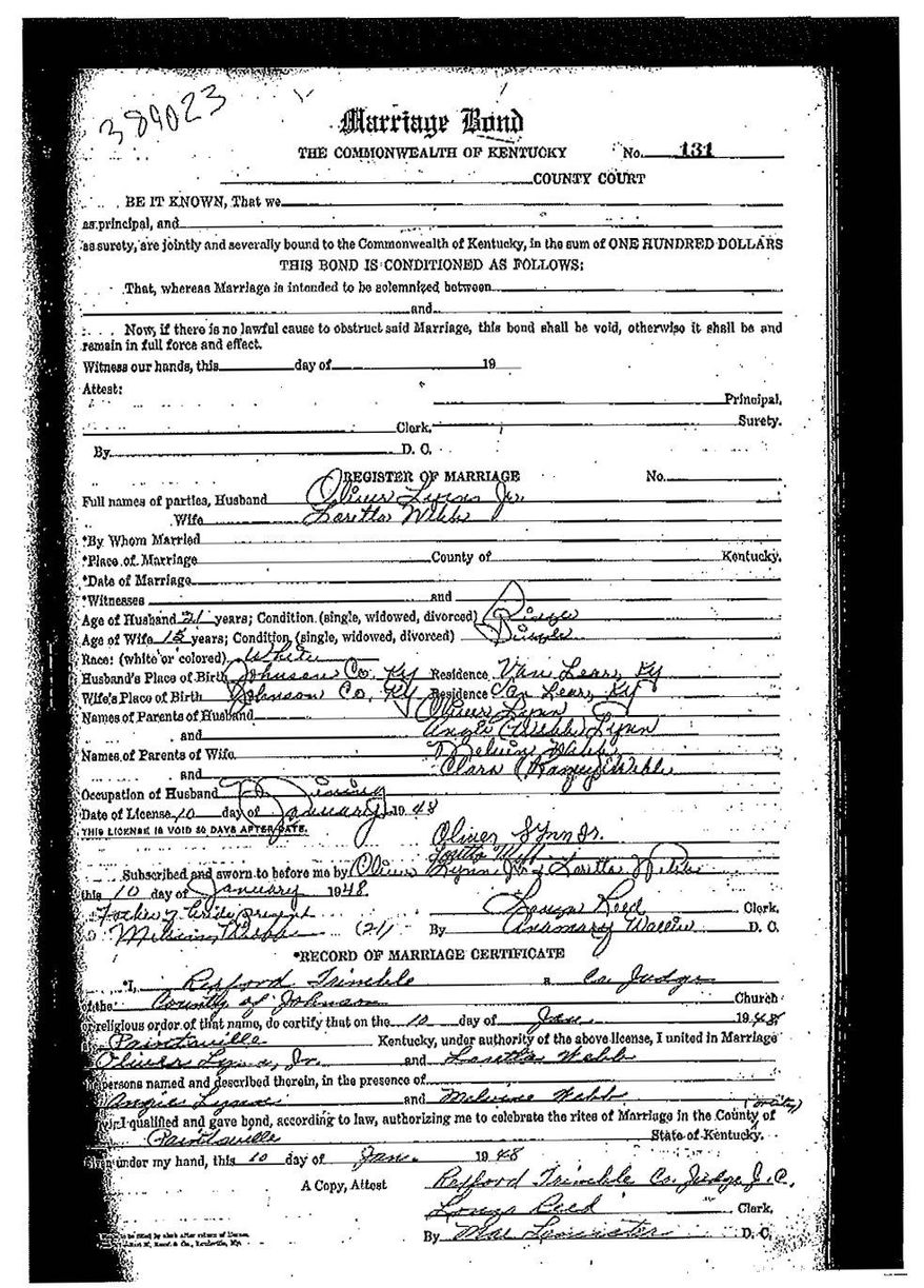 Loretta Lynn's marriage certificate shows she married when she was just shy of her 16th birthday in 1948. (Johnson County, Ky., Clerk's Office)