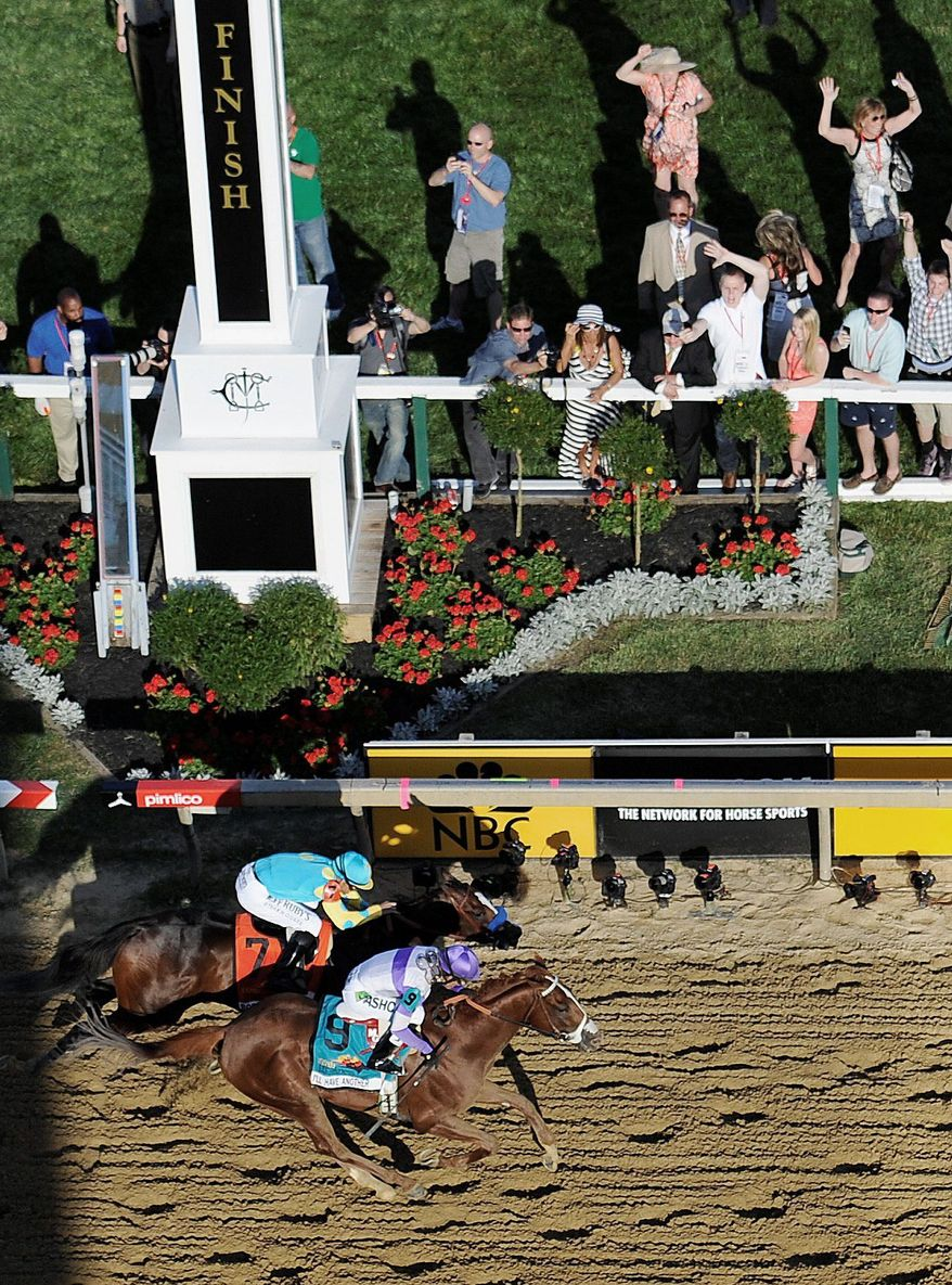 I'll Have Another (bottom), winning the Preakness under Mario Gutierrez, has a 1.5-mile challenge awaiting in the Belmont Stakes on June 9. (Associated Press)