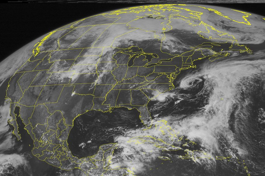 A National Oceanic and Atmospheric Administration satellite image taken Saturday, May 19, 2012, shows Tropical Storm Alberto 140 miles east of Charleston, S.C. (AP Photo/Weather Underground)