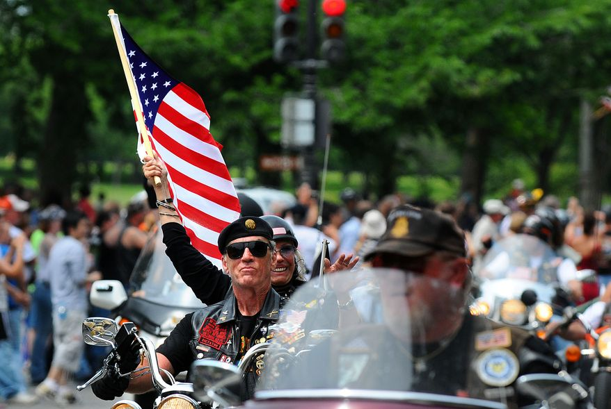 Rolling Thunder, Inc. National Executive Director Artie Muller leads the way during the Rolling Thunder XXII Ride for Freedom along Constitution Avenue in Washington, D.C., Sunday, May 24, 2009.  (Rod Lamkey Jr. / The Washington Times)