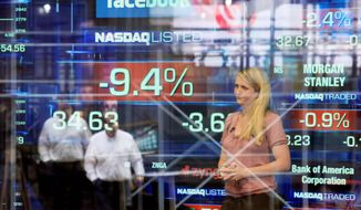 Television correspondent Sabrina Quagliozzi reports from inside the Nasdaq MarketSite in New York's Times Square on Monday. Facebook's stock fell below its $38 IPO price in the social network's second day of trading as a public company on Monday. (Associated Press)