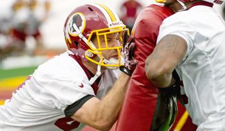 """I feel like even if I'm not the guy ... I'm going to still be a major factor on this team and on this offense,"" Redskins tight end Chris Cooley said. Cooley, who will turn 30 on July 11, is two seasons removed totaling 849 yards receiving, which tied his career high. (Andrew Harnik/The Washington Times)"