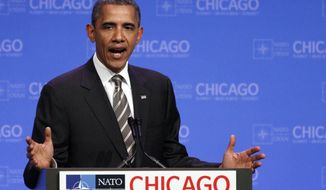 President Obama speaks at a news conference at the NATO summit in Chicago on Monday, May 21, 2012. (AP Photo/Kiichiro Sato)