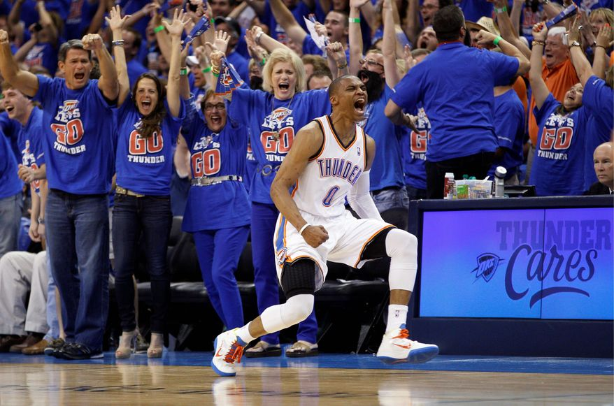 Guard Russell Westbrook and his Oklahoma City teammates brushed aside the Los Angeles Lakers in five games to reach the Western Conference final for the second straight season. Last year, the Thunder were eliminated by Dallas in five games. (Associated Press)