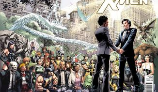 "The superhero Northstar (right) will marry his longtime boyfriend in Marvel Comics' ""Astonishing X-Men"" No. 51, which is due out June 20. Northstar became the publisher's first openly gay hero in 1992. (Associated Press)"