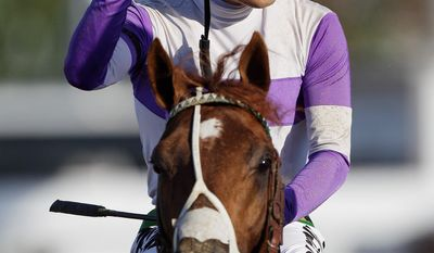 Jockey Mario Gutierrez and I'll Have Another are the talk of thoroughbred racing after victories in the Kentucky Derby and Preakness Stakes. (Associated Press)