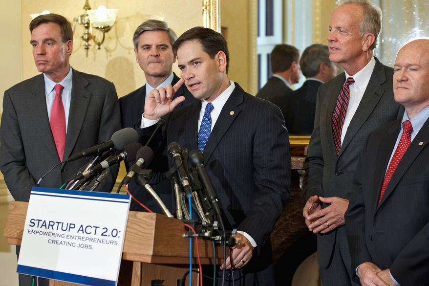 Sen. Marco Rubio, Florida Republican, speaks Tuesday on Capitol Hill about Startup Act 2.0, a bipartisan effort aimed at jump-starting the economy by making more visas available for immigrants with advanced degrees and those wishing to start businesses. Behind him are (from left) Sen. Mark R. Warner, Virginia Democrat; Internet entrepreneur Steve Case, a member of President Obama's Council on Jobs and Competitiveness; Sen. Jerry Moran, Kansas Republican, and Sen. Christopher A. Coons, Delaware Democrat. (Associated Press)