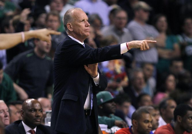 Philadelphia 76ers head coach Doug Collins during the second half of Game 5 of Eastern Conference semifinal playoff series in Boston on Monday, May 21, 2012. The Celtics won 101-85. (AP Photo/Charles Krupa)