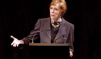 Carol Burnett speaks about the late Beverly Sills during a gala tribute to the opera star in September 2007 at the Metropolitan Opera in New York. (AP Photo/Stephen Chernin)