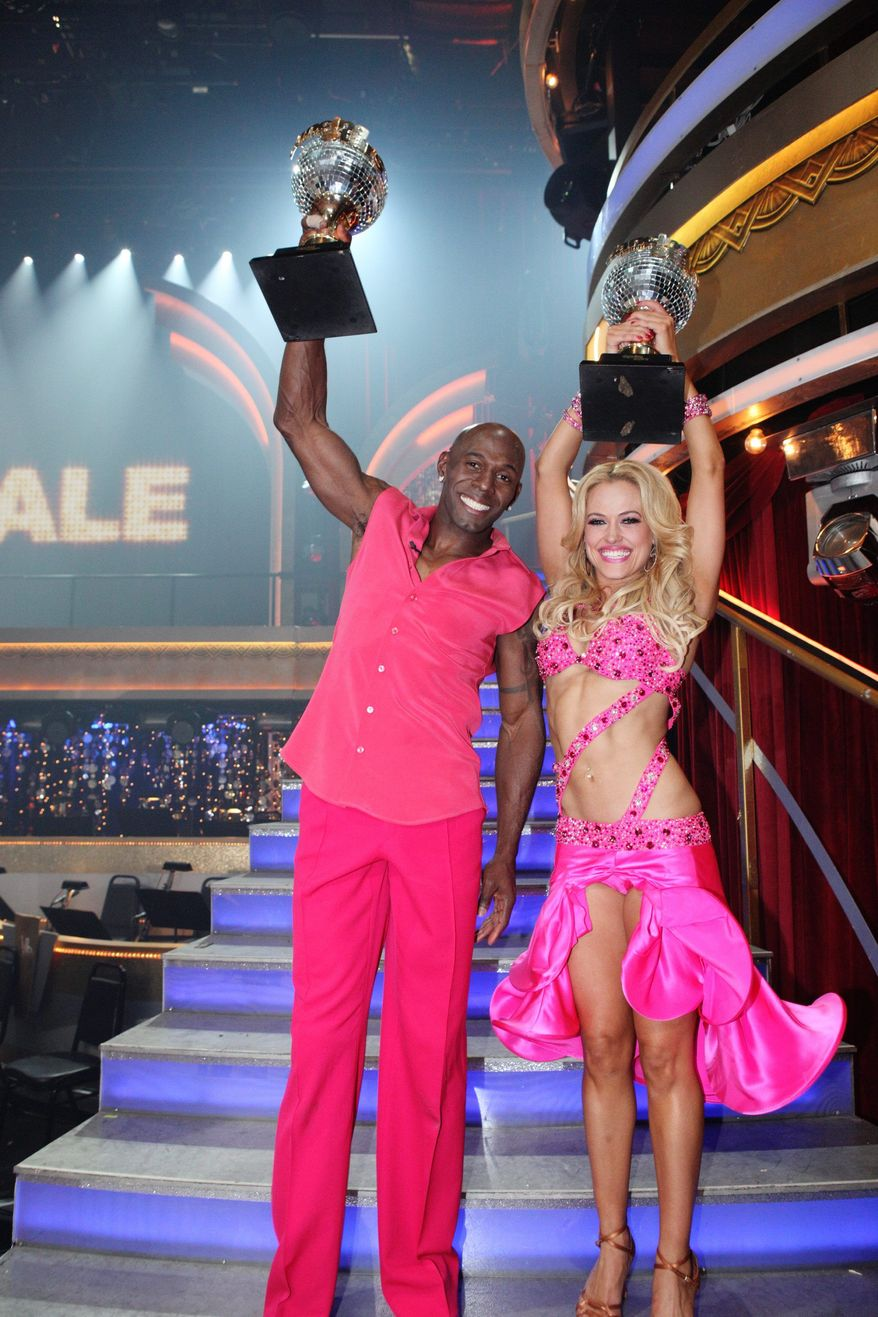 "Football player Donald Driver and partner Peta Murgatroyd on Tuesday won ABC's ""Dancing With the Stars."" The Green Bay Packers receiver wowed audiences and judges with a country-themed freestyle routine. (ABC via Associated Press)"