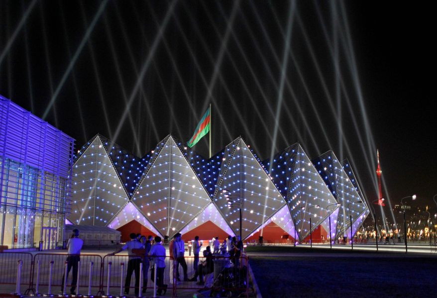The Baku Crystal Palace in Baku, Azerbaijan, is lit by lights on May 22, 2012, during the rehearsals for the 2012 Eurovision Song contest. (Associated Press)