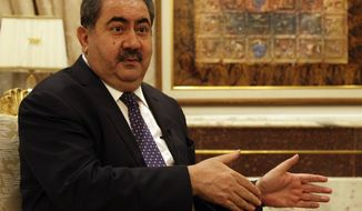 ** FILE ** Iraqi Foreign Affairs Minister Hoshyar Zebari speaks May 22, 2012, in Baghdad during an interview with the Associated Press. (Associated Press)