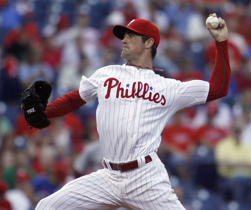 Cole Hamels gave up four hits in eight scoreless innings, striking out eight as the Phillies defeated the Nationals on Wednesday night 4-1. (AP Photo/H. Rumph Jr)