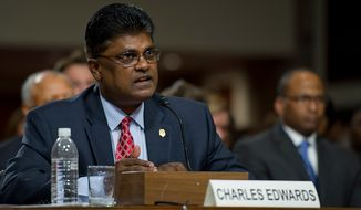 Charles Edwards, acting inspector general of the U.S. Department of Homeland Security, testifies before the Committee on Homeland Security and Governmental Affairs at the Dirksen Building in Washington, D.C. on Wednesday, May 23, 2012. (Barbara L. Salisbury/The Washington Times)
