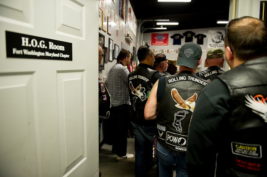 Rolling Thunder's Maryland chapter holds a general membership meeting to plan for their Memorial Day events at Harley Davidson's Ft. Washington store, Ft. Washington, Md., Saturday, May 12, 2012. (Andrew Harnik/The Washington Times)