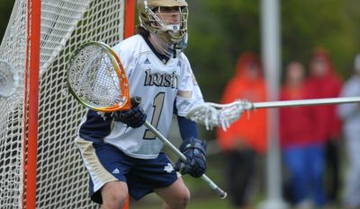 Notre Dame goalie John Kemp was named a first-team All-American on Thursday. The Potomac native also leads the country in goals-against avereage and save percentage. (Notre Dame Athletics)