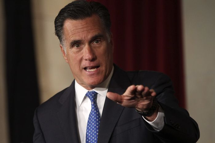Republican presidential candidate, former Massachusetts Gov. Mitt Romney addresses the Latino Coalition's 2012 Small Business Summit, Wednesday, May 23, 2012, in Washington. (AP Photo/Mary Altaffer)