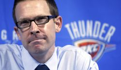 This year's Western Conference finals opponents share a link. Sam Presti, a former San Antonio Spurs executive, is now the general manager of the Oklahoma City Thunder. (AP Photo/Sue Ogrocki, File)