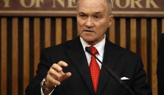 ** FILE ** New York City police commissioner Raymond Kelly speaks during a news conference Thursday, May 24, 2012, in New York. (AP Photo/Frank Franklin II)