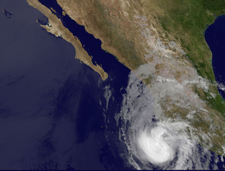 This image provided by NASA, taken May 25, 2012, at 1:15 a.m. EDT, shows Hurricane Bud. The U.S. National Hurricane Center says Hurricane Bud has strengthened off the southwestern coast of Mexico. (Associated Press/NASA)