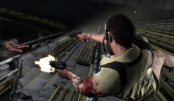 Max flies through the air with the greatest of ease in the video game Max Payne 3.