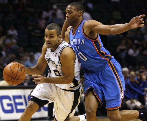 San Antonio Spurs guard Tony Parker had two NBA titles when he was 23 years old, Oklahoma City Thunder guard Russell Westbrook's age. That makes the All-Star point guards chasing different legacies in what will be the marquee matchup of the Western Conference Finals.(AP Photo/Darren Abate, File)