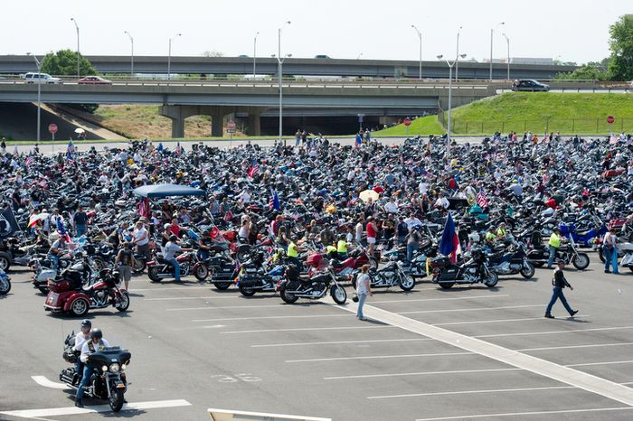 Motorcyclists gather in the Pentagon parking lot for Rolling Thunder on Sunday, May 27, 2012. Hundreds of thousands of bikers participated in this year's ride, the 25th anniversary of the eve