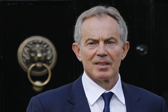 Former British Prime Minister Tony Blair leaves his house in central London on Monday, May 28, 2012. (AP Photo/Sang Tan)