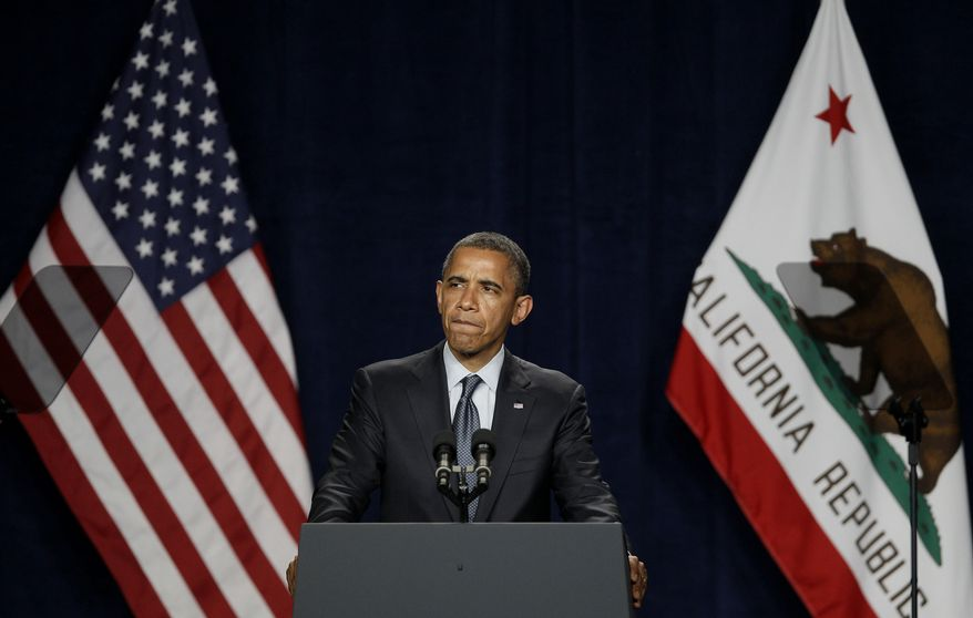 President Obama speaks May 23, 2012, at the Fox Theater in Redwood City, Calif. (Associated Press)