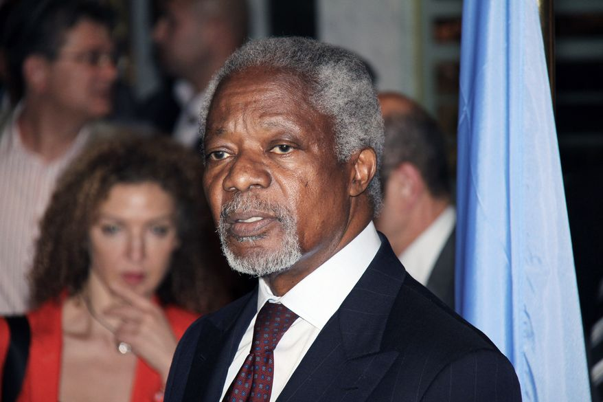 U.N.-Arab League Joint Special Envoy for Syria (JSE) Kofi Annan speaks during a press conference after his arrival in Damascus, Syria, Monday, May 28, 2012. Annan, arrived in Damascus on Monday for talks with Syrian President Bashar Al-Assad. (AP Photo/Bassem Tellawi)