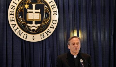 """We do not seek to impose our religious beliefs on others. We simply ask that the government not impose its values on the university when those values conflict with our religious teachings. We have engaged in conversations to find a resolution that respects the consciences of all, and we will continue to do so."" - The Rev. John I. Jenkins, Notre Dame's president. (Associated Press)"