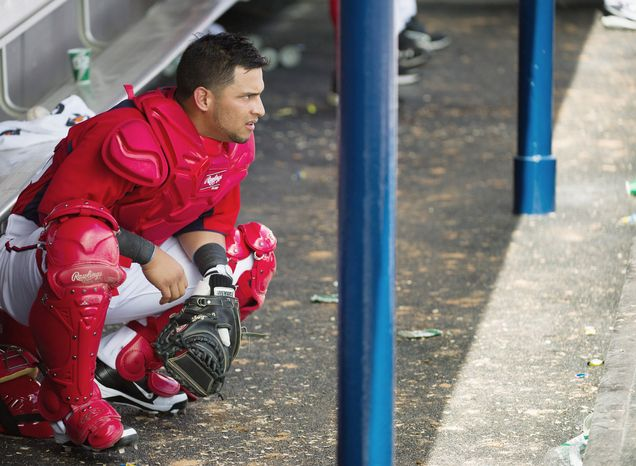 Catcher Jhonatan Solano was called up by the Nationals as insurance in the wake of injuries to Wilson Ramos, Jesus Flores and Sandy Leon. (Andrew Harnik/The Washington Times)