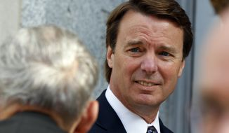 John Edwards arrives May 29, 2012, at a federal courthouse in Greensboro, N.C., for the seventh day of jury deliberations in his trial on charges of campaign corruption. (Associated Press)